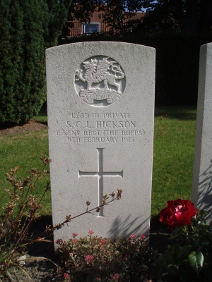 Private S C L Hickson, died 8th February 1915